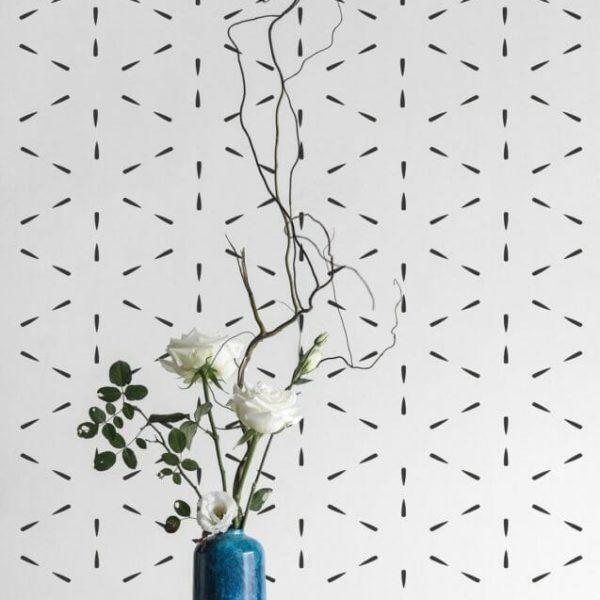 Black and white geometric lines self-adhesive wallpaper