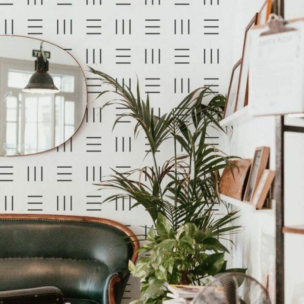 Black and white geometric tiny stripe peel and stick wallpaper