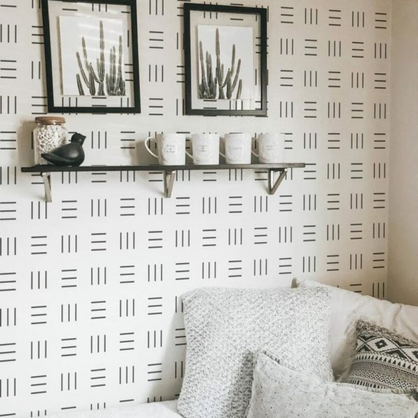Black and white geometric tiny stripe self-adhesive wallpaper