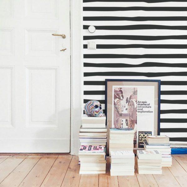 Black and white horizontal brush stroke self-adhesive wallpaper