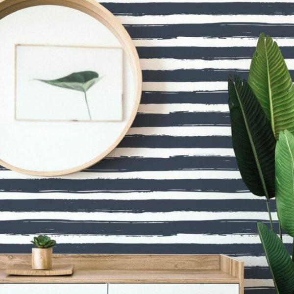 Black and white horizontal stripes self-adhesive wallpaper