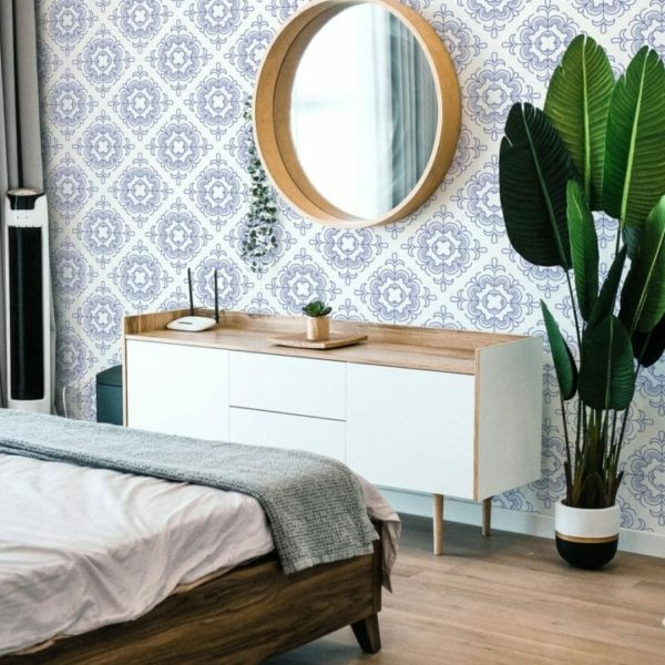 Blue and white Moroccan style self-adhesive wallpaper