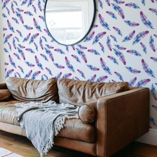 Colorful feathers removable wallpaper