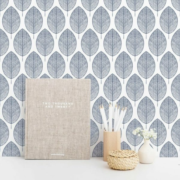 Grey and white botanical leaves removable wallpaper