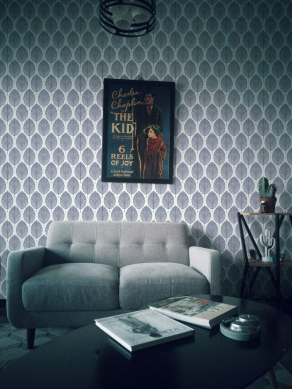 Grey and white botanical leaves unpasted traditional wallpaper