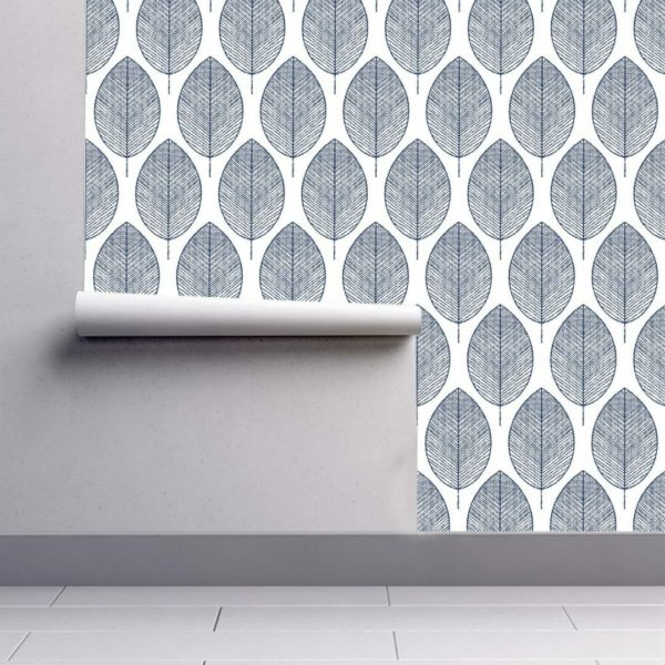Grey and white botanical leaves wallpaper rolls
