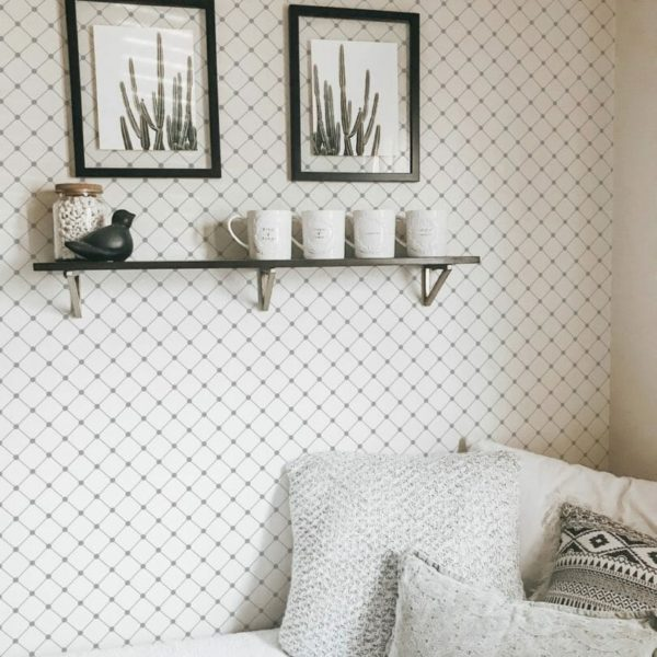 Grey and white diamonds removable wallpaper