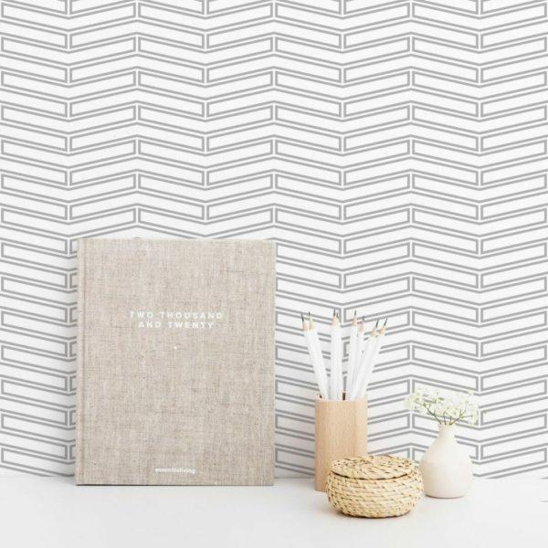 Grey and white geometric Art Deco self-adhesive wallpaper