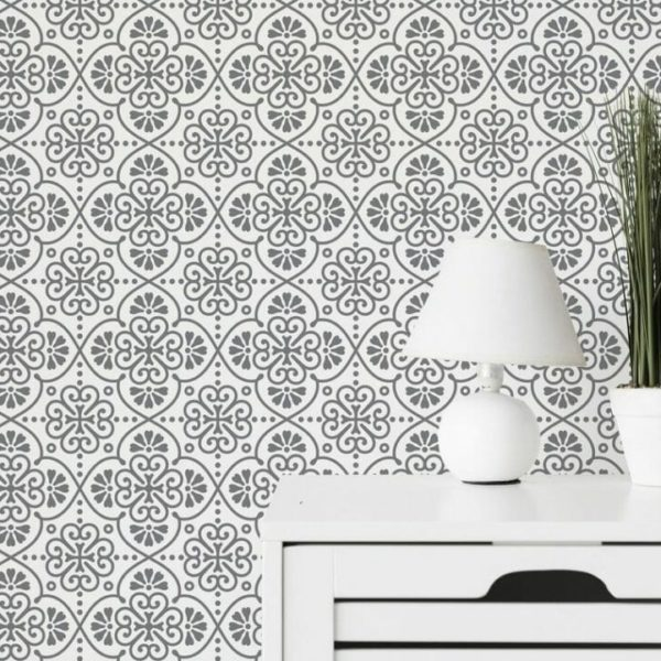 Grey and white Moroccan tile peel and stick wallpaper
