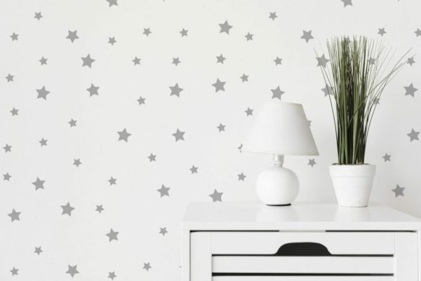 Grey and white stars self-adhesive wallpaper
