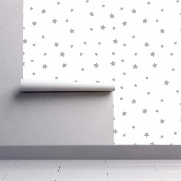 Grey and white stars wallpaper rolls