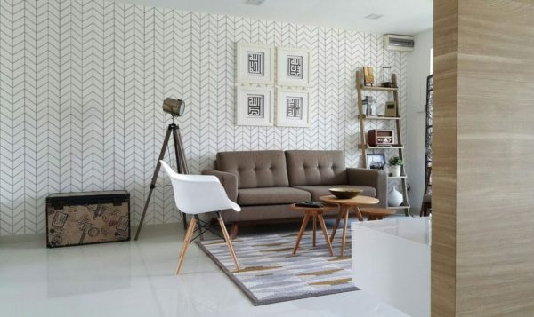 Grey Scandinavian herringbone design pattern