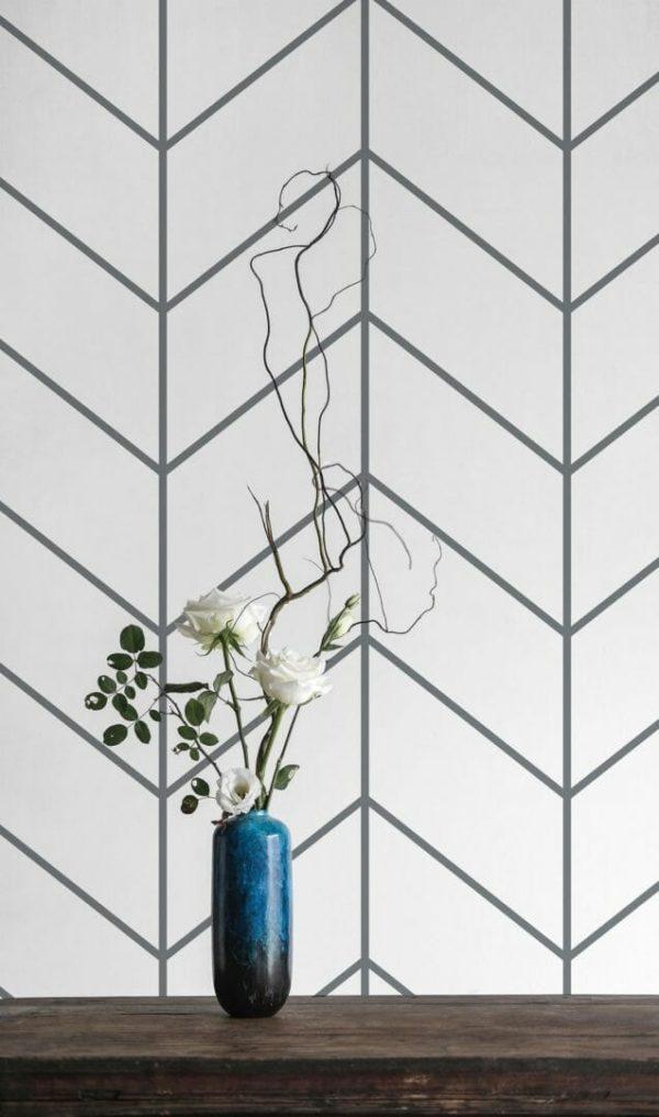 Grey Scandinavian herringbone removable wallpaper