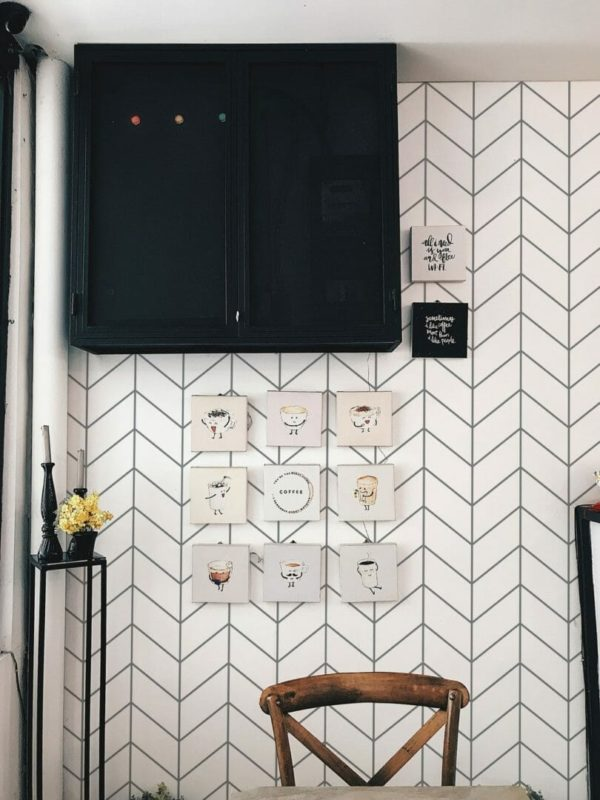 Grey Scandinavian herringbone unpasted traditional wallpaper
