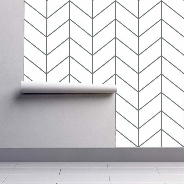 Grey Scandinavian herringbone wallpaper rolls