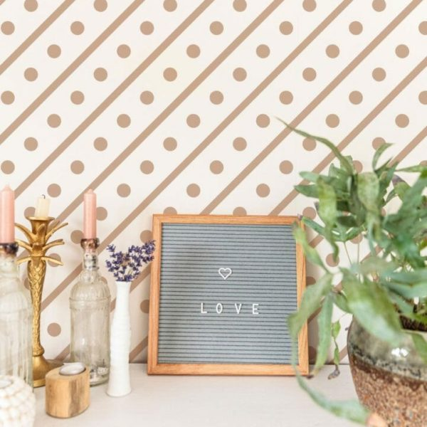 Pink lines and dots removable wallpaper