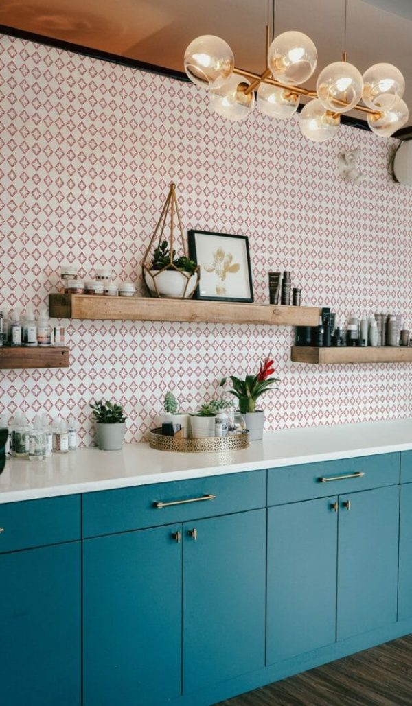 Red and white diamond peel and stick wallpaper