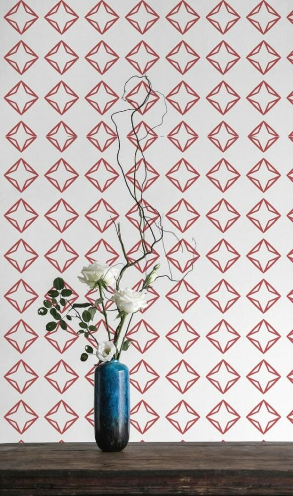 Red and white diamond removable wallpaper