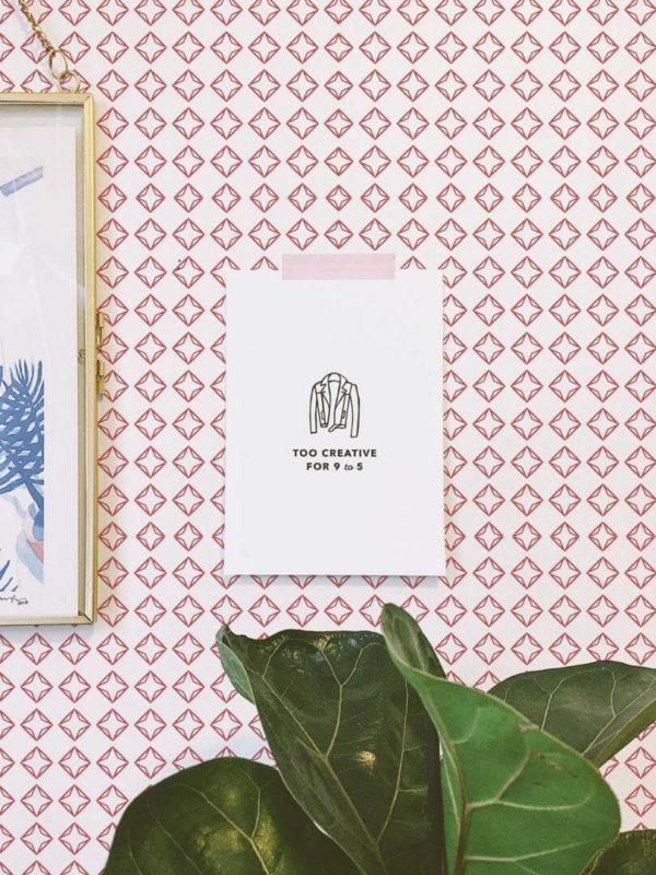 Red and white diamond self-adhesive wallpaper
