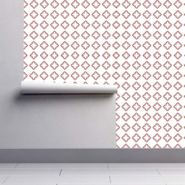 Red and white diamond wallpaper rolls