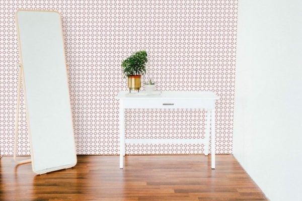 Removable red and white wallpaper