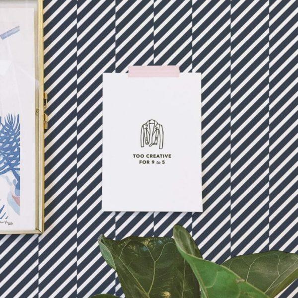 Self-adhesive diagonal stripes wallpaper