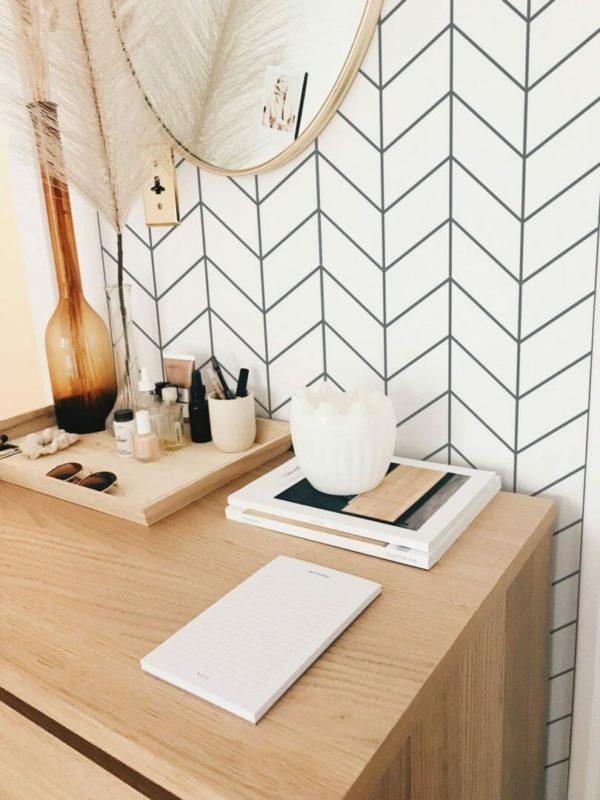 Self-adhesive Scandinavian herringbone wallpaper