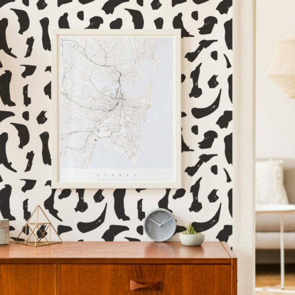 black and whiteabstract brush stroke peel and stick wallpaper
