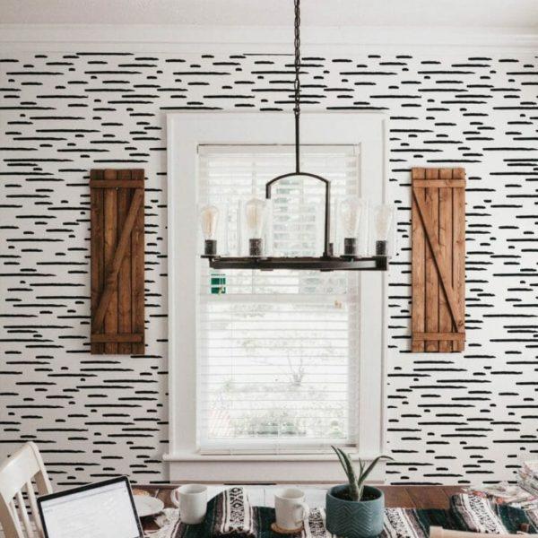 Black and white brush stroke self-adhesive wallpaper
