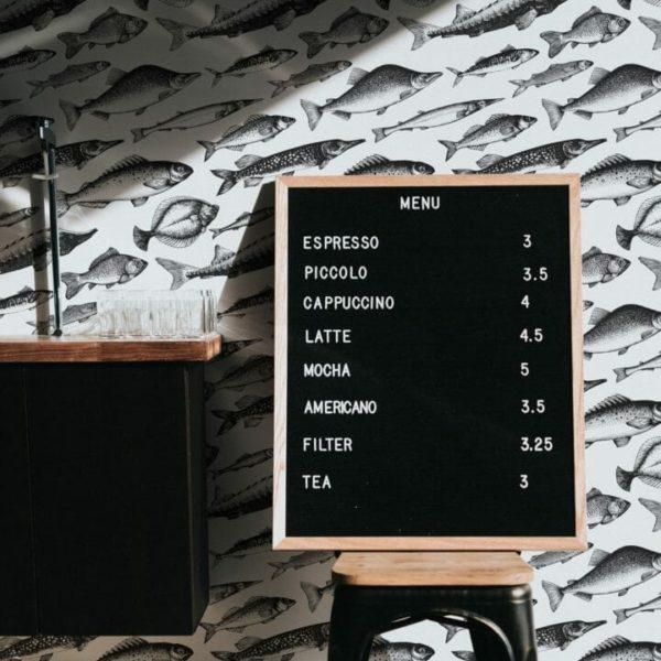 Black and white fish self-adhesive wallpaper