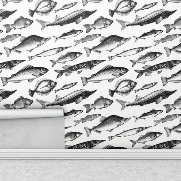 Black and white fish wallpaper rolls