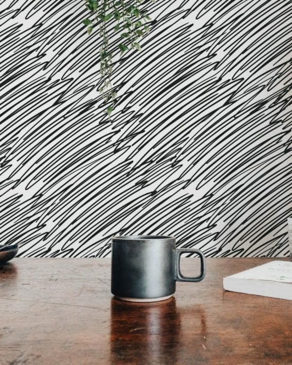 Black and white grunge scratches unpasted traditional wallpaper
