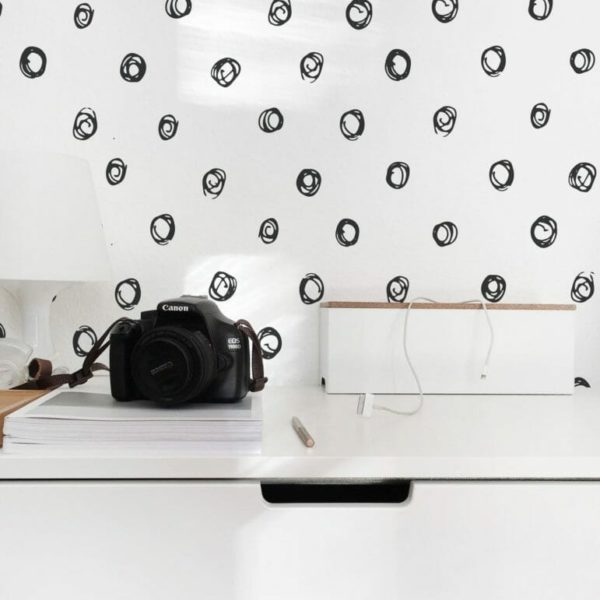 Black and white hand drawn circles self-adhesive wallpaper