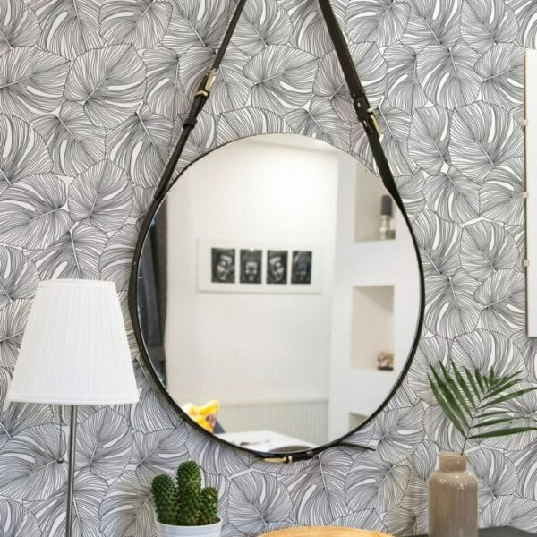 Black and white monstera leaves self-adhesive wallpaper