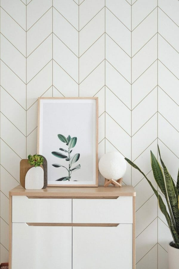 Brown and white bison herringbone peel and stick wallpaper