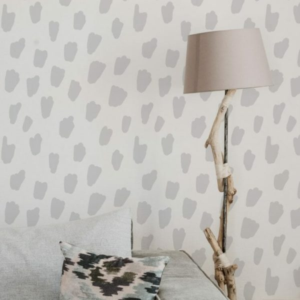Gray and white brush spots unpasted traditional wallpaper