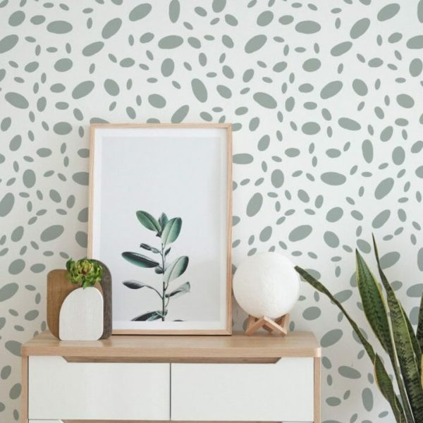 Gray and white seamless dot removable wallpaper