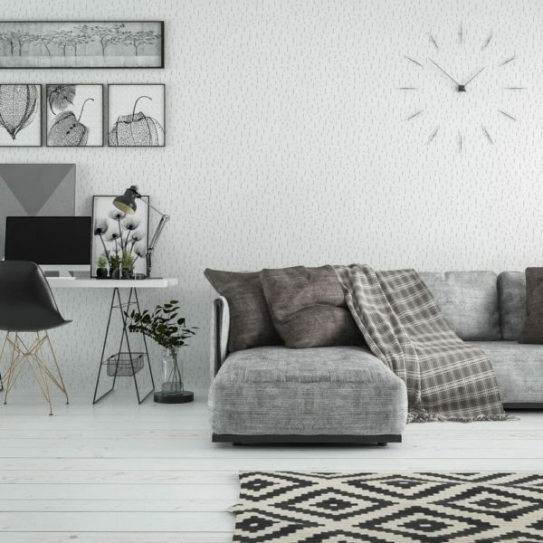 Gray and white stripes self-adhesive wallpaper