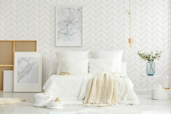 Peel and stick bison herringbone wallpaper
