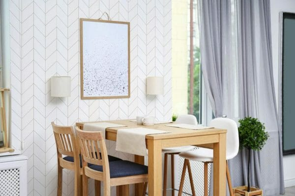 Self-adhesive bison herringbone wallpaper