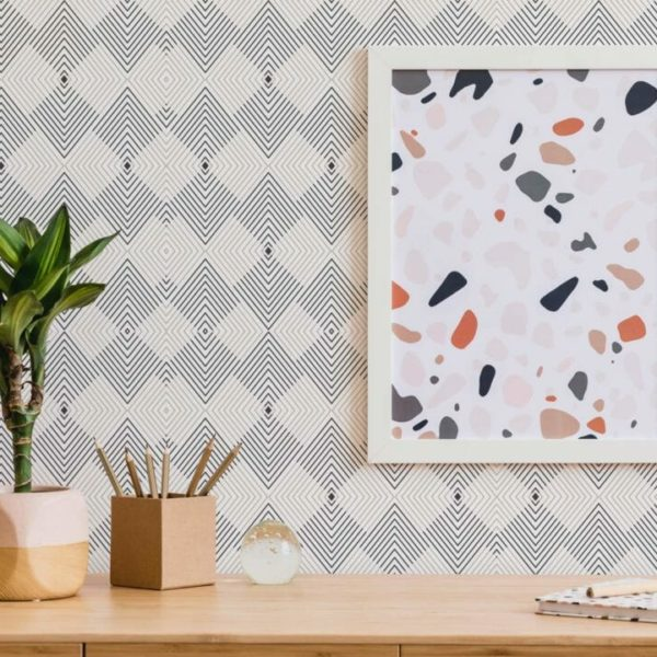 beige and white geometric self-adhesive wallpaper