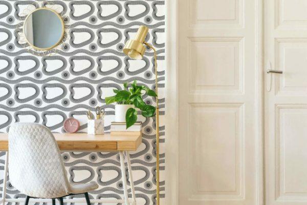 black and white abstract boho self-adhesive wallpaper