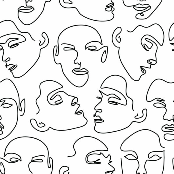black and whiteface pattern peel and stick wallpaper