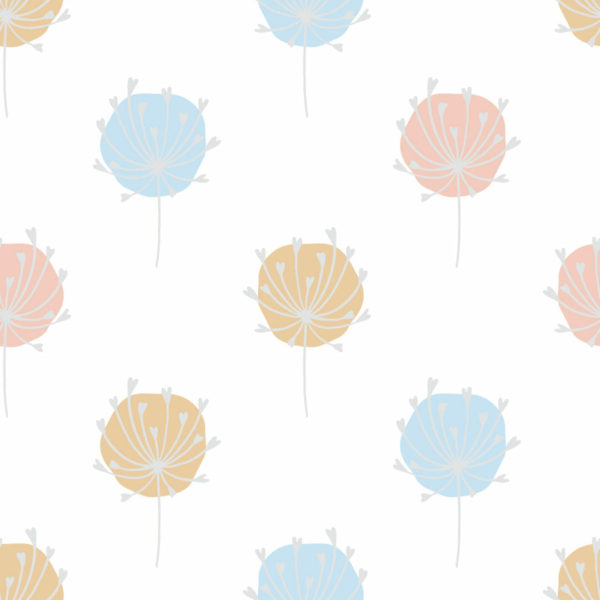 blue and beige floral peel and stick wallpaper