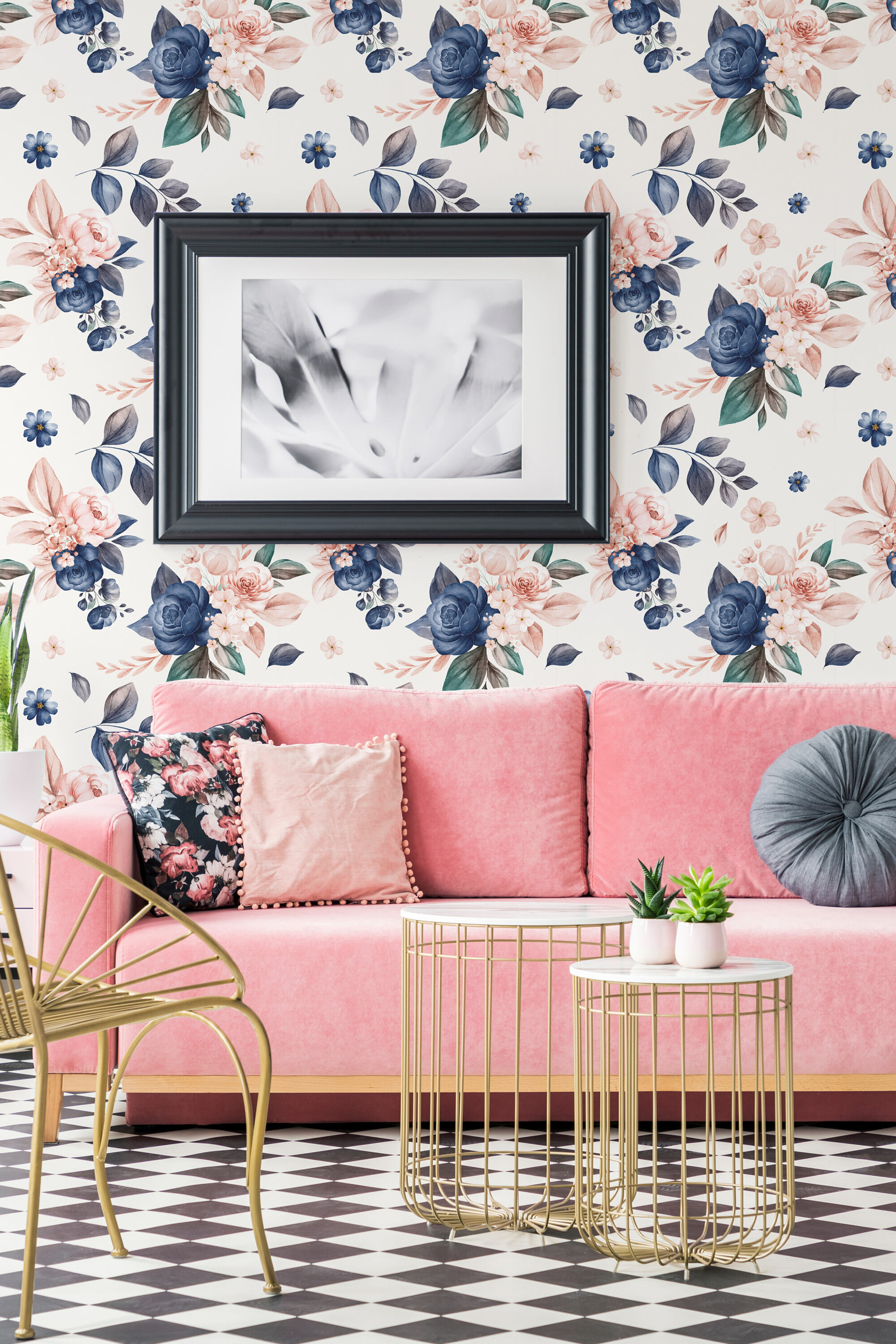 blue and white floral peel and stick wallpaper 4