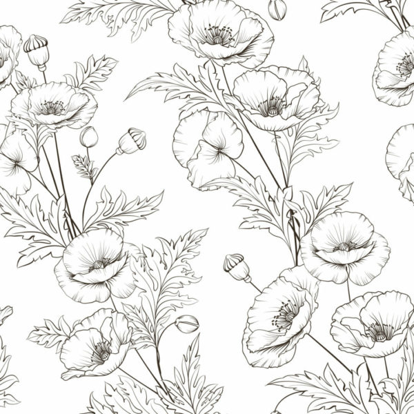 brown and white floral peel and stick wallpaper