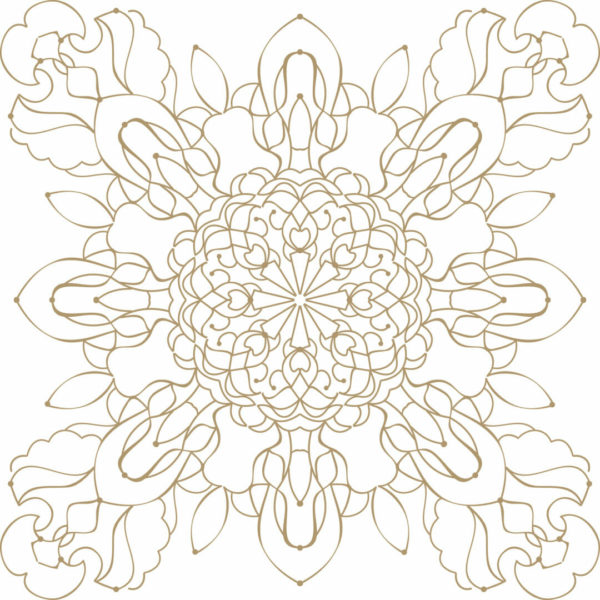 gold and white geometric floral peel and stick wallpaper