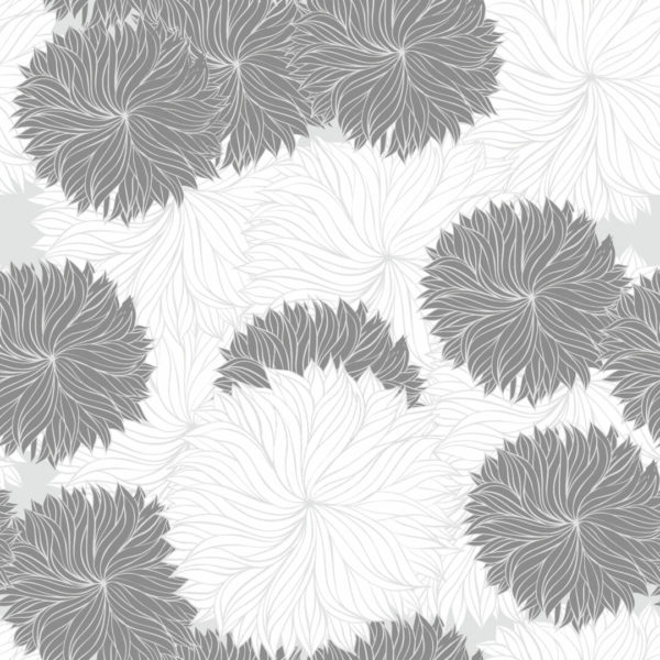 gray and white floral removable wallpaper