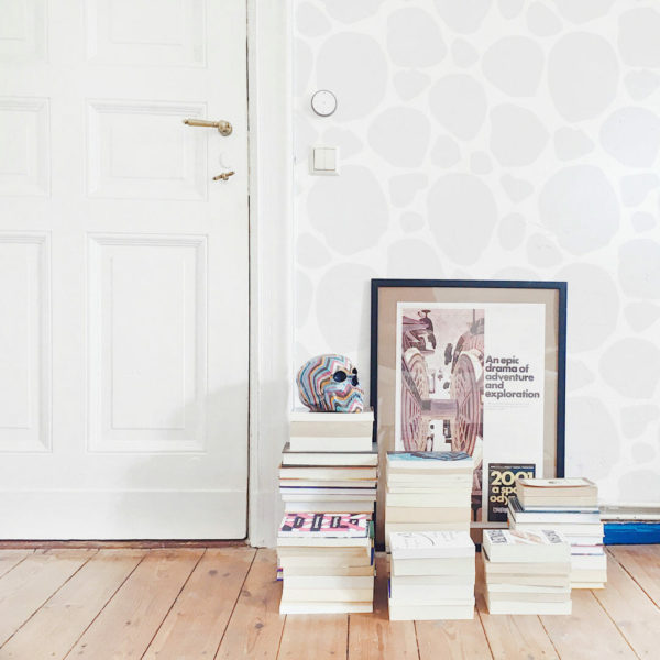 gray and white spots peel and stick wallpaper