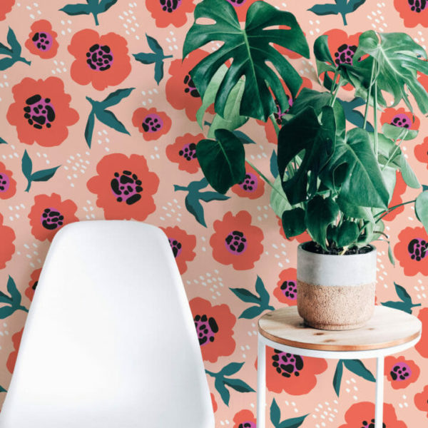 orange and pink floral peel and stick wallpaper